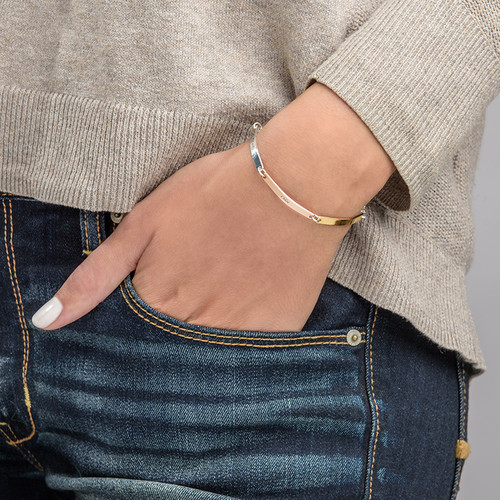 Personalized Bar Bracelet - Multi-Toned - 2