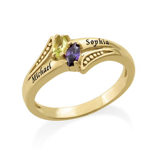 Personalized Birthstone Ring in Gold Plating - 1
