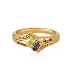 Personalized Birthstone Ring in Gold Plating