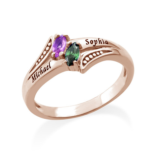 Personalized Birthstone Ring in Rose Gold Plating