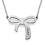 Personalized Bow Necklace in Silver