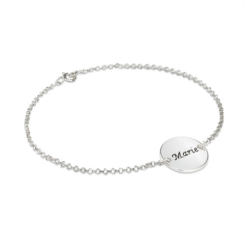 Personalized Bracelet Anklet With Engraved Disc