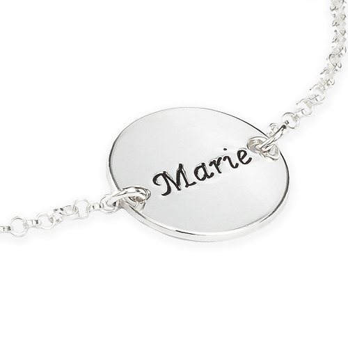 Personalized Bracelet / Anklet with Engraved Disc - 1