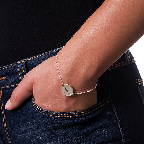 Personalized Bracelet / Anklet with Engraved Disc - 2