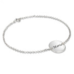 Personalized Bracelet / Anklet with Engraved Disc