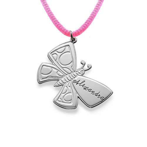 Personalized Butterfly Necklace in Silver