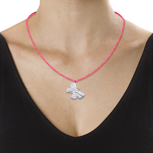 Personalized Butterfly Necklace in Silver - 1