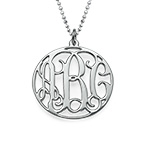 Personalized Jewelry Circle Initial Monogram Necklace