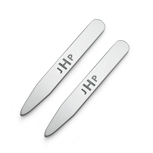 Personalized Collar Stays in Silver