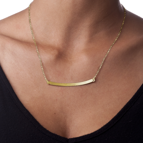 Personalized Curved Bar Necklace with 18K Gold Plating - 1