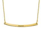 Personalized Curved Bar Necklace with 18K Gold Plating