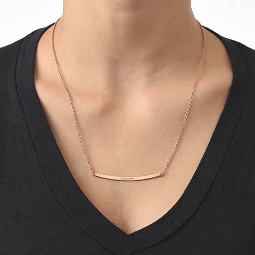 Personalized Curved Bar Necklace with Rose Gold Plating - 1