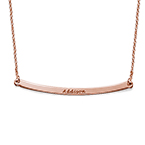 Personalized Curved Bar Necklace with Rose Gold Plating