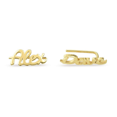 Personalized Ear Climbers with 18K Gold Plating