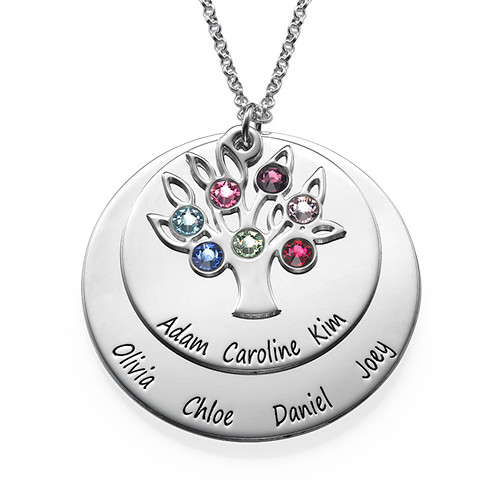 Personalized Family Tree Jewelry - Mothers Birthstone Necklace