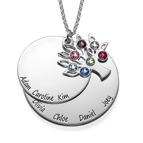 Personalized Family Tree Jewelry - Mothers Birthstone Necklace - 1
