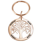 Personalized Family Tree Keychain in Rose Gold Plating
