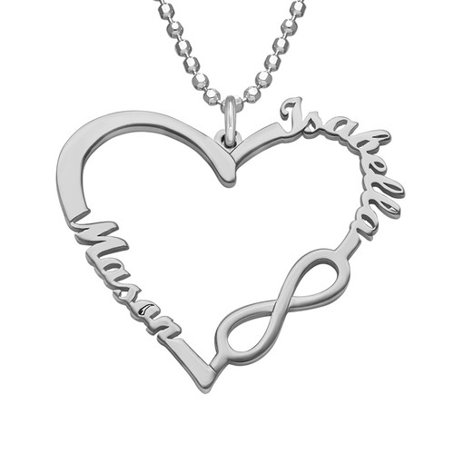 Personalized Heart Infinity Necklace - 1