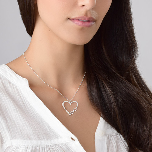 Personalized Heart Infinity Necklace - 2