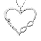 Personalized Heart Infinity Necklace