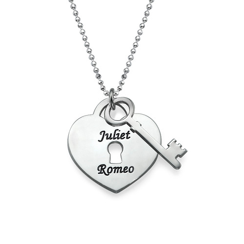 Personalized Heart Lock with Key Pendant