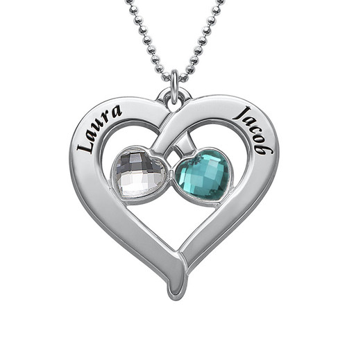Personalized Heart Necklace with Birthstones