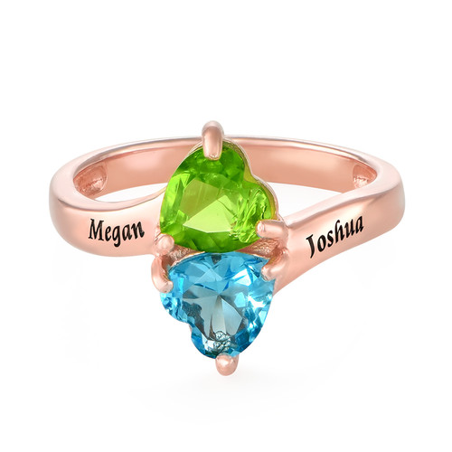 Personalized Heart Shaped Birthstone Ring in Rose Gold Plating