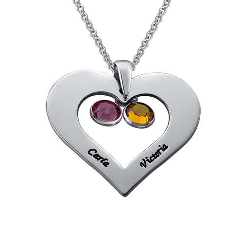 Personalized Heart necklace with Birthstones in Silver