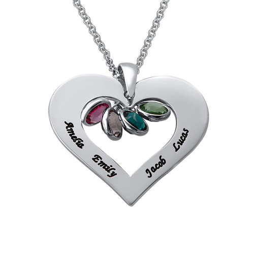 Personalized Heart necklace with Birthstones in Silver - 1
