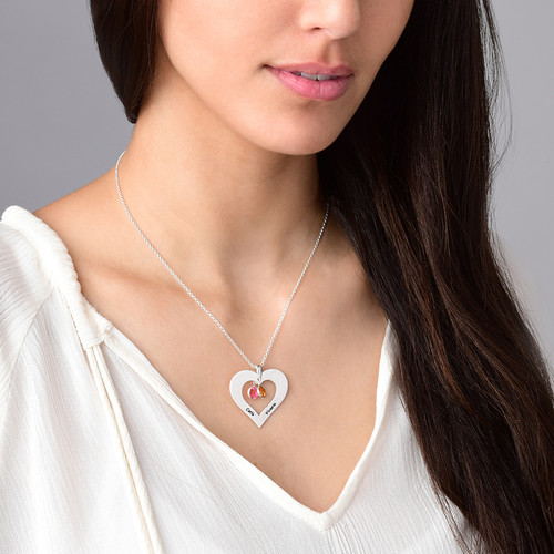 Personalized Heart necklace with Birthstones in Silver - 3