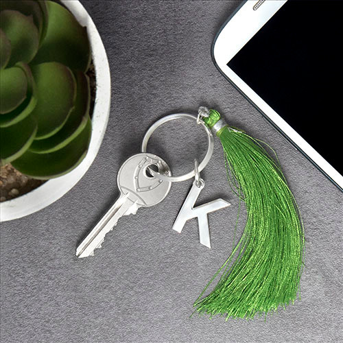 Personalized Keychain with Initial and Tassel - 2