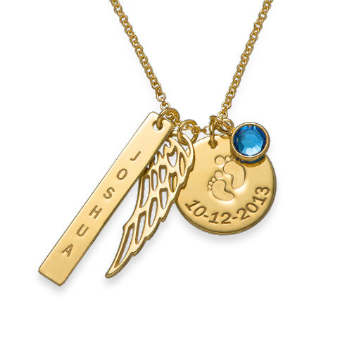 Personalized Mom Charm Necklace with Gold Plating