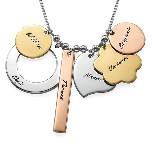 Personalized Mothers Necklace in Mixed Metals