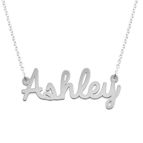 Personalized Cursive Name Necklace in Silver - 1