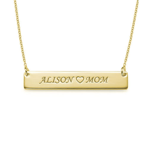 Personalized Nameplate Necklace for Mom - Gold Plated