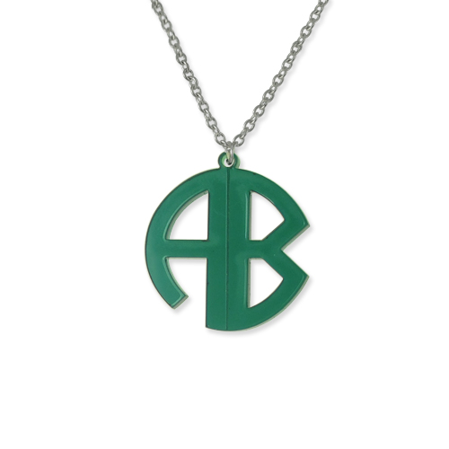 Personalized Block Acrylic Monogram Necklace - 1