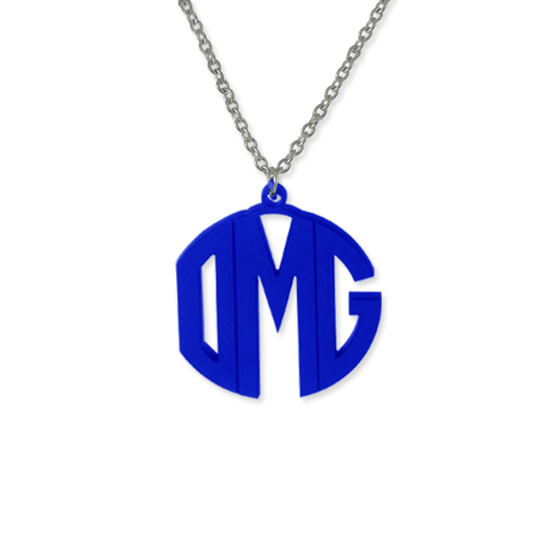 Personalized Block Acrylic Monogram Necklace - 2