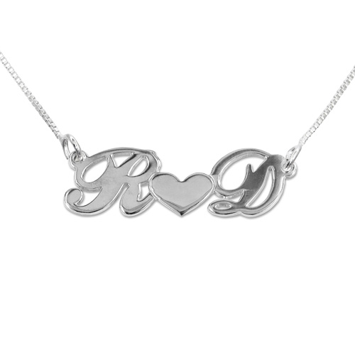 Personalized Silver Couples Heart Necklace