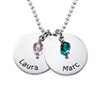 Personalized Silver Disc Necklace with Birthstones