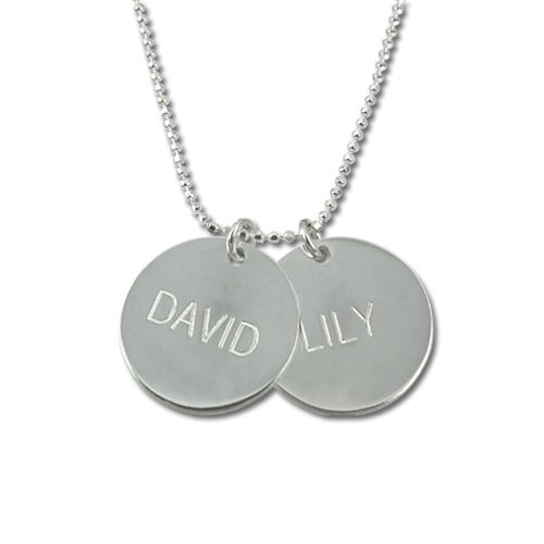 Personalized Silver Disc Pendant Name Necklace