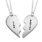 Personalized Silver Breakable Heart Necklaces