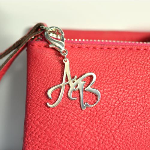 Personalized Silver Handbag Purse Initial Charm