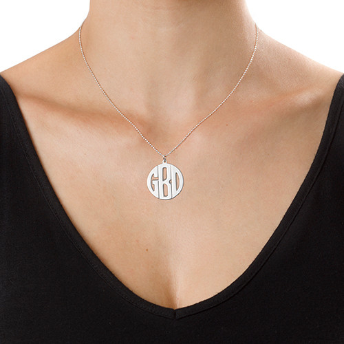 Personalized Sterling Silver Block Monogram Necklace - 2