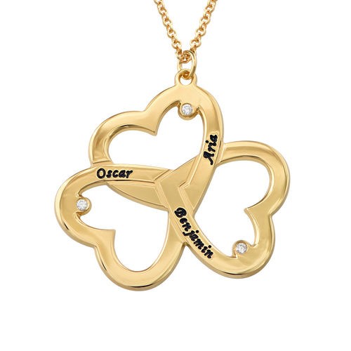 Personalized Triple Heart Necklace with Diamonds in Gold plating