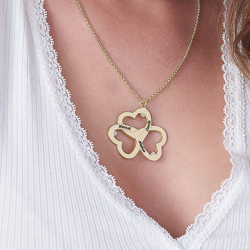 Personalized Triple Heart Necklace with Diamonds in Gold plating - 2