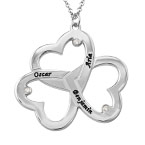Personalized Triple Heart Necklace with Diamonds in Silver Sterling