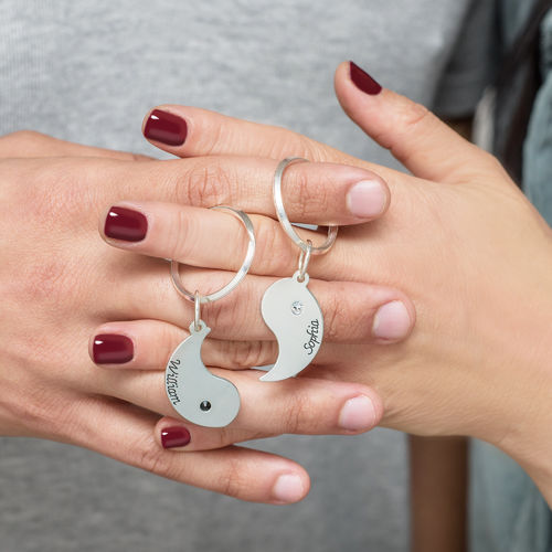 Personalized Yin Yang Keychain for Couples - 2