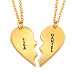 18k Gold Plated Silver Breakable Heart Necklaces