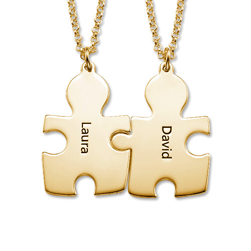 18k Gold Plated Silver Couple's Puzzle Love Necklaces - 1