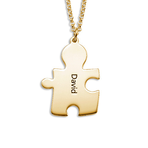 18k Gold Plated Silver Couple's Puzzle Love Necklaces - 2